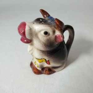 Vintage Japan Cow Single Salt Pepper Shaker Cork